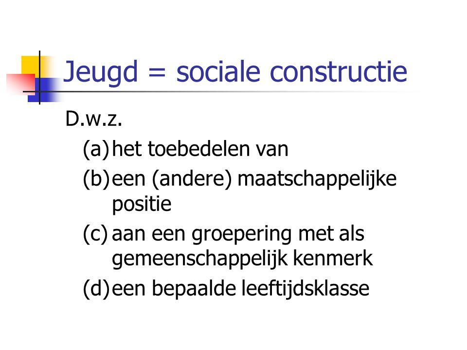 Jeugd = sociale constructie