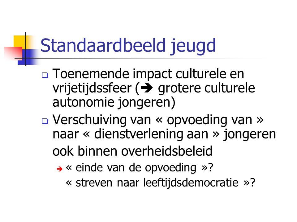 Standaardbeeld jeugd Toenemende impact culturele en vrijetijdssfeer ( grotere culturele autonomie jongeren)