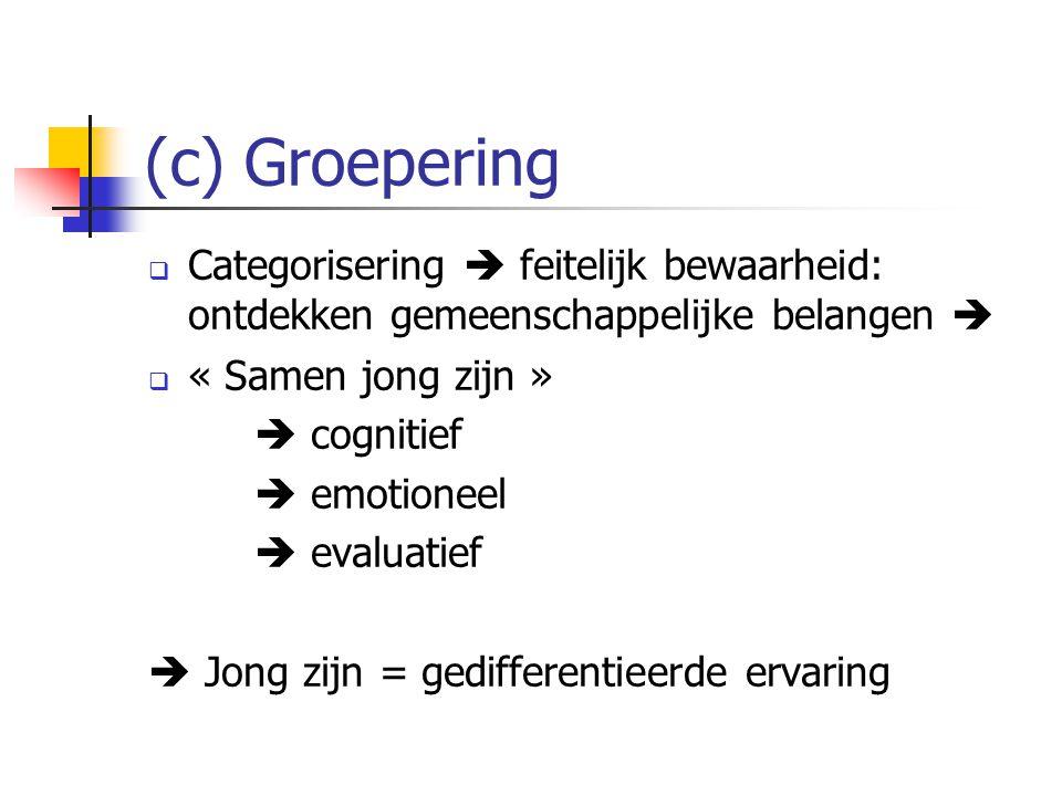 (c) Groepering Categorisering  feitelijk bewaarheid: ontdekken gemeenschappelijke belangen  « Samen jong zijn »