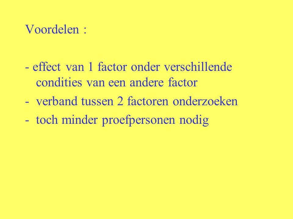 Voordelen : - effect van 1 factor onder verschillende condities van een andere factor. verband tussen 2 factoren onderzoeken.