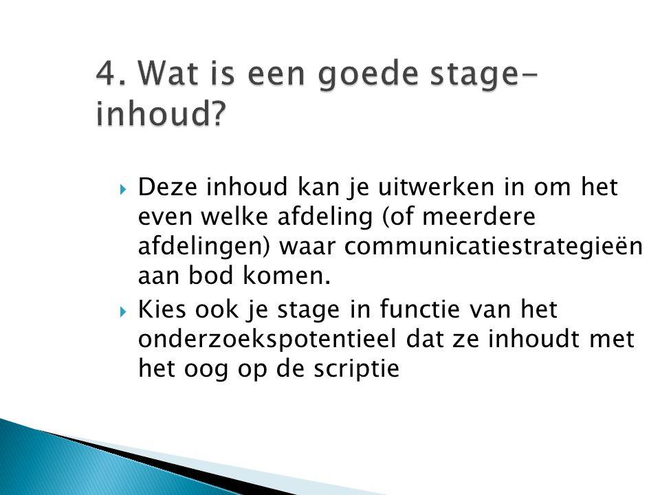 4. Wat is een goede stage-inhoud