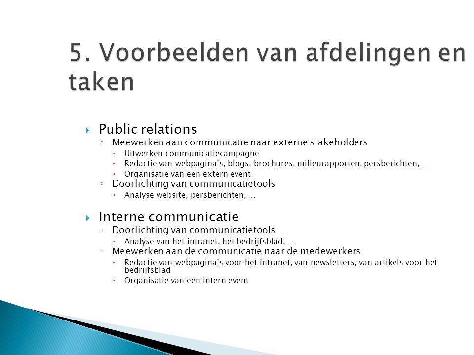 5. Voorbeelden van afdelingen en taken