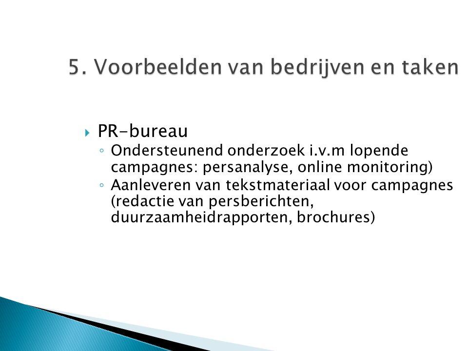 5. Voorbeelden van bedrijven en taken