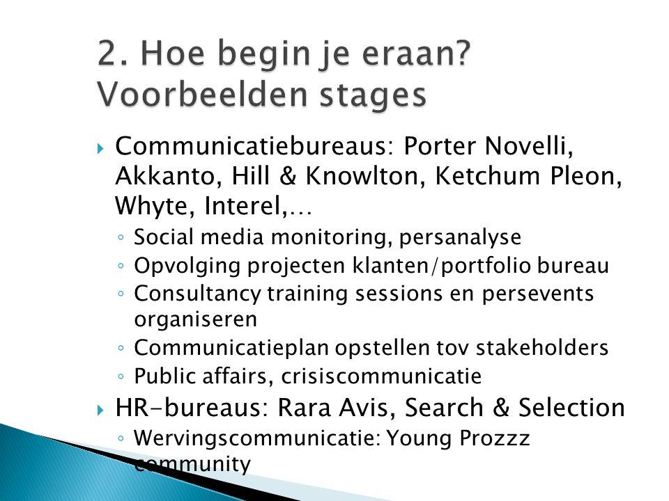 2. Hoe begin je eraan Voorbeelden stages