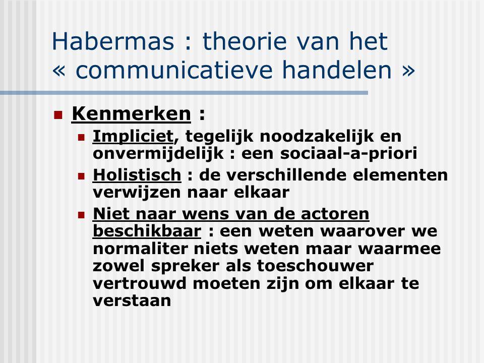 Habermas : theorie van het « communicatieve handelen »