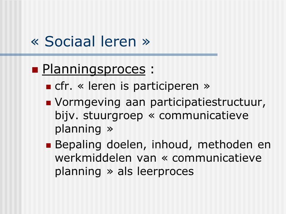« Sociaal leren » Planningsproces : cfr. « leren is participeren »