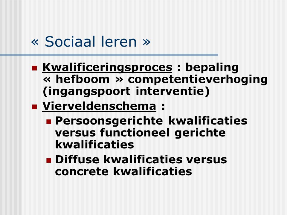 « Sociaal leren » Kwalificeringsproces : bepaling « hefboom » competentieverhoging (ingangspoort interventie)