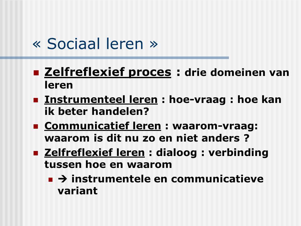 « Sociaal leren » Zelfreflexief proces : drie domeinen van leren