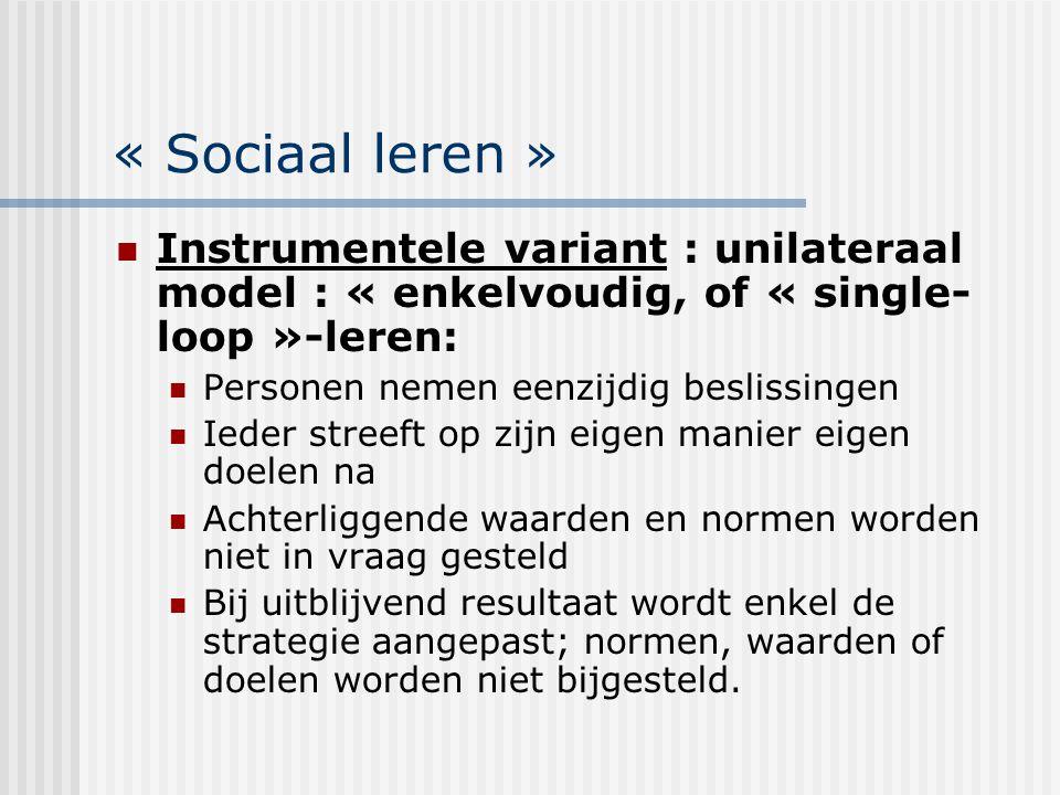 « Sociaal leren » Instrumentele variant : unilateraal model : « enkelvoudig, of « single-loop »-leren: