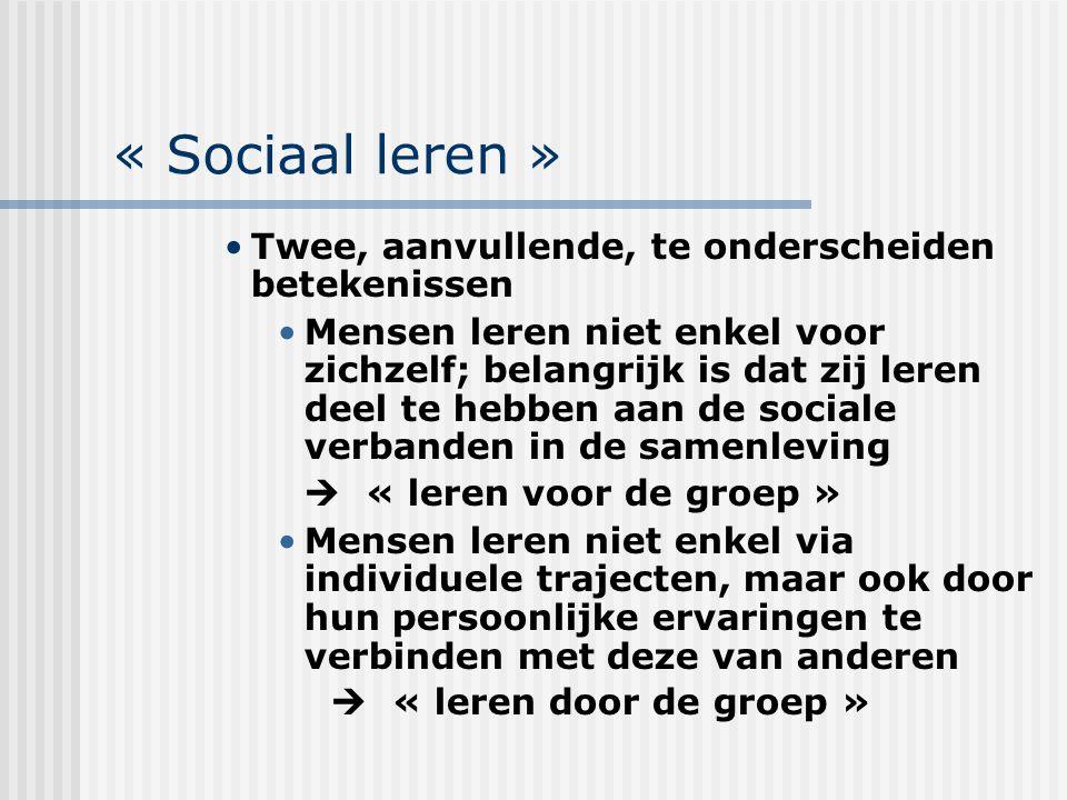 « Sociaal leren » Twee, aanvullende, te onderscheiden betekenissen