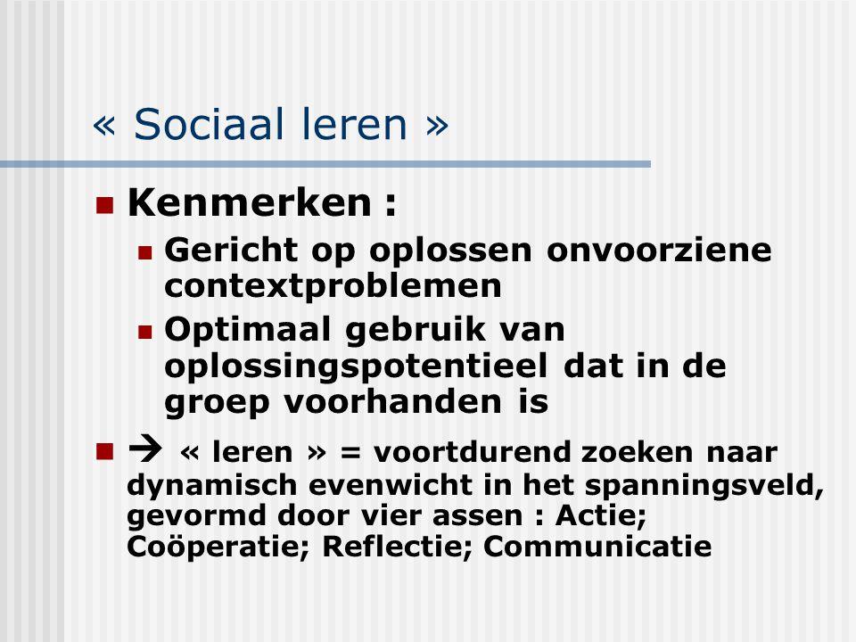 « Sociaal leren » Kenmerken :