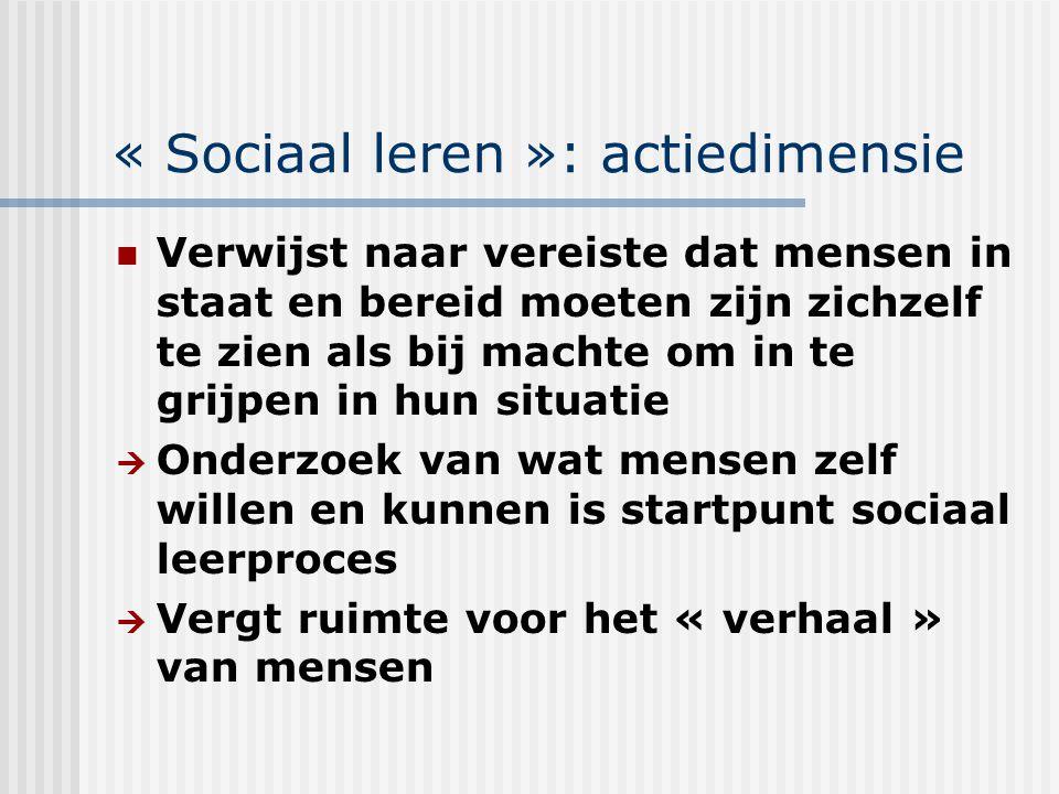 « Sociaal leren »: actiedimensie