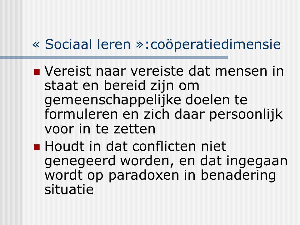 « Sociaal leren »:coöperatiedimensie