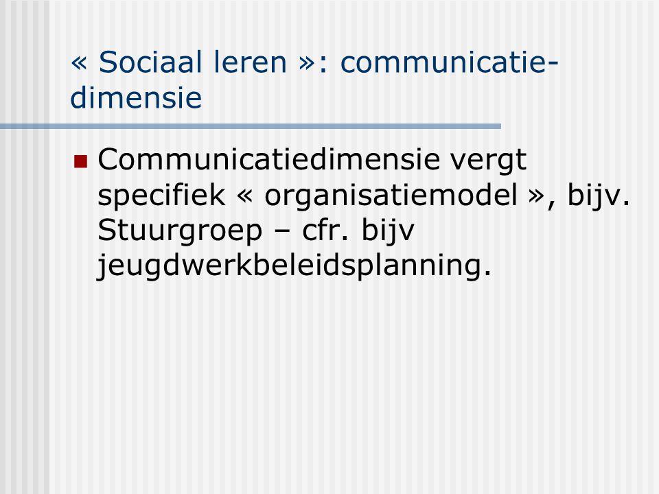 « Sociaal leren »: communicatie- dimensie