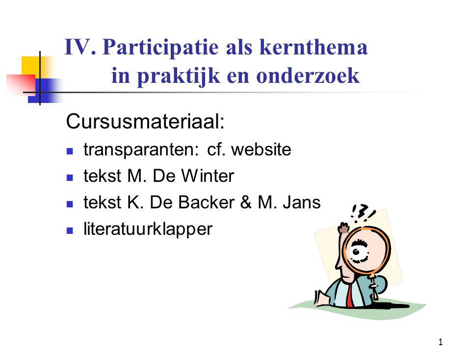 IV. Participatie als kernthema in praktijk en onderzoek