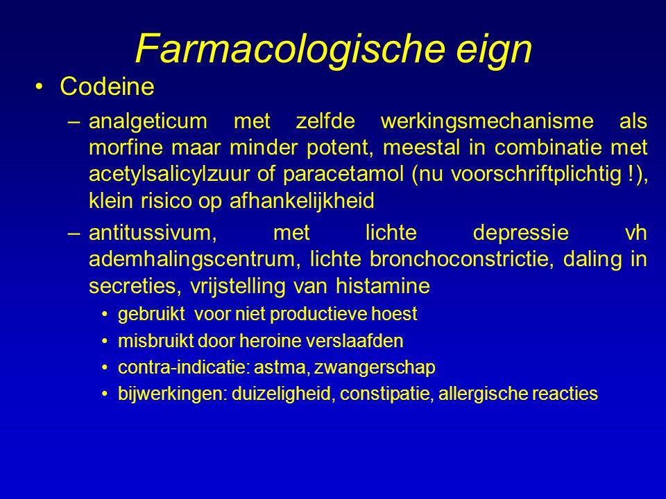 Farmacologische eign Codeine