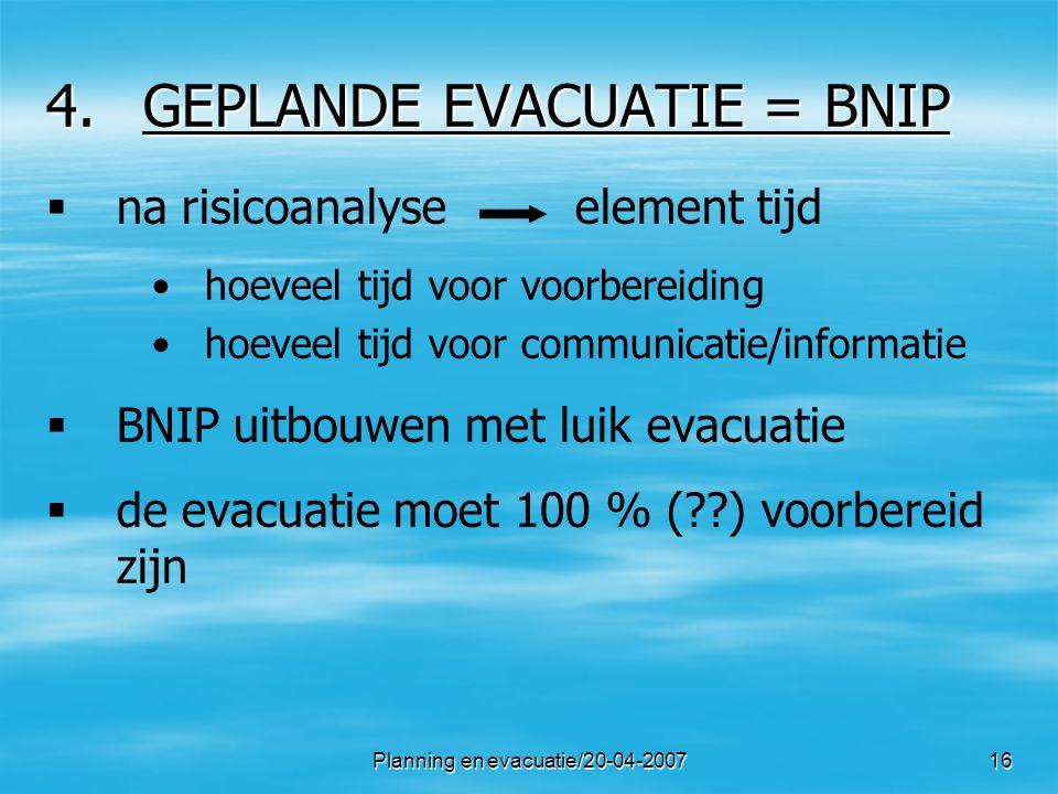 GEPLANDE EVACUATIE = BNIP