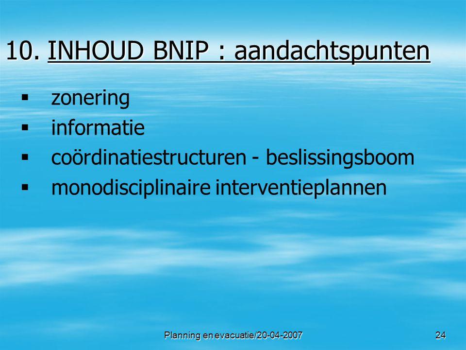 INHOUD BNIP : aandachtspunten