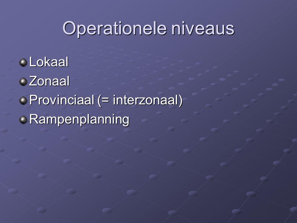Operationele niveaus Lokaal Zonaal Provinciaal (= interzonaal)