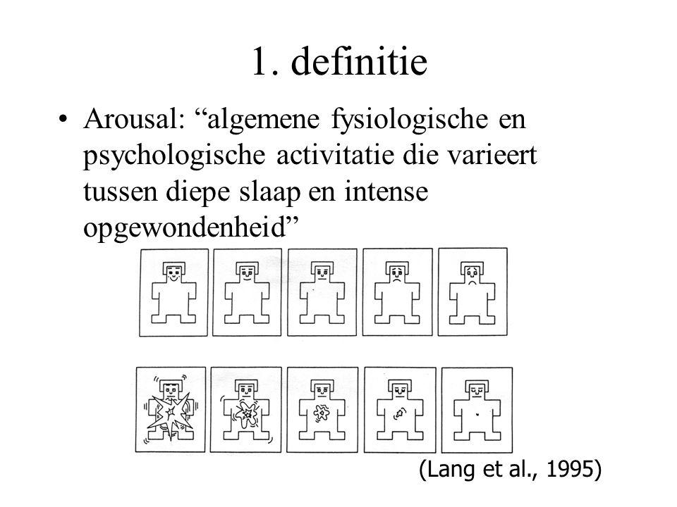1. definitie Arousal: algemene fysiologische en psychologische activitatie die varieert tussen diepe slaap en intense opgewondenheid