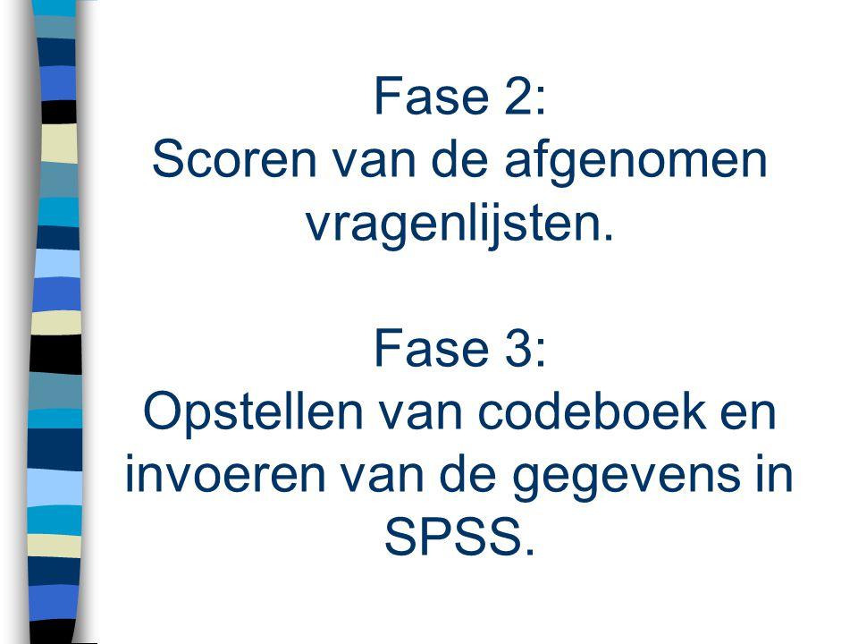 Fase 2: Scoren van de afgenomen vragenlijsten
