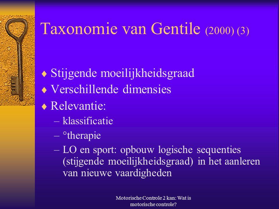 Taxonomie van Gentile (2000) (3)