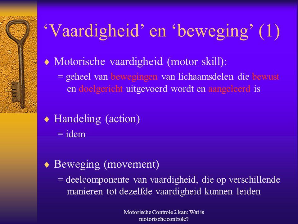 'Vaardigheid' en 'beweging' (1)