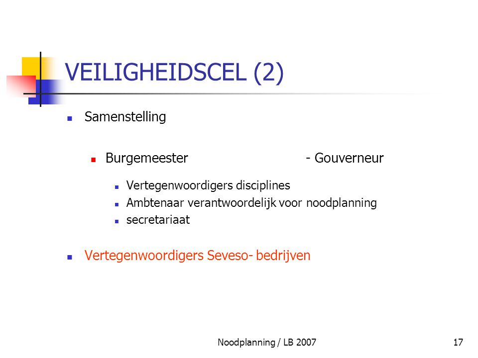 VEILIGHEIDSCEL (2) Samenstelling Burgemeester - Gouverneur