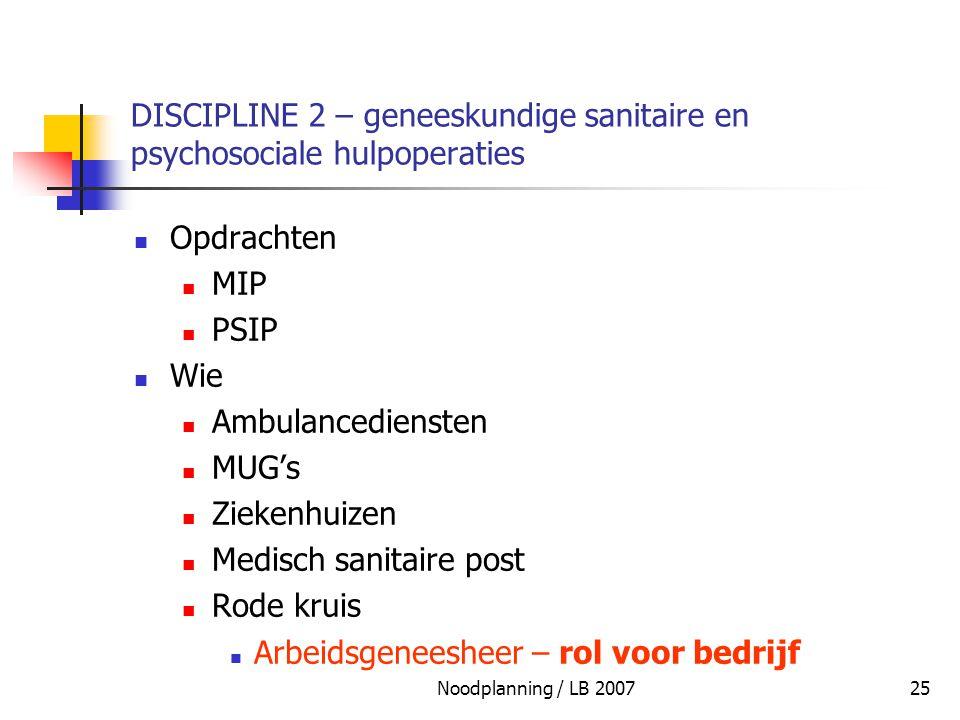 DISCIPLINE 2 – geneeskundige sanitaire en psychosociale hulpoperaties