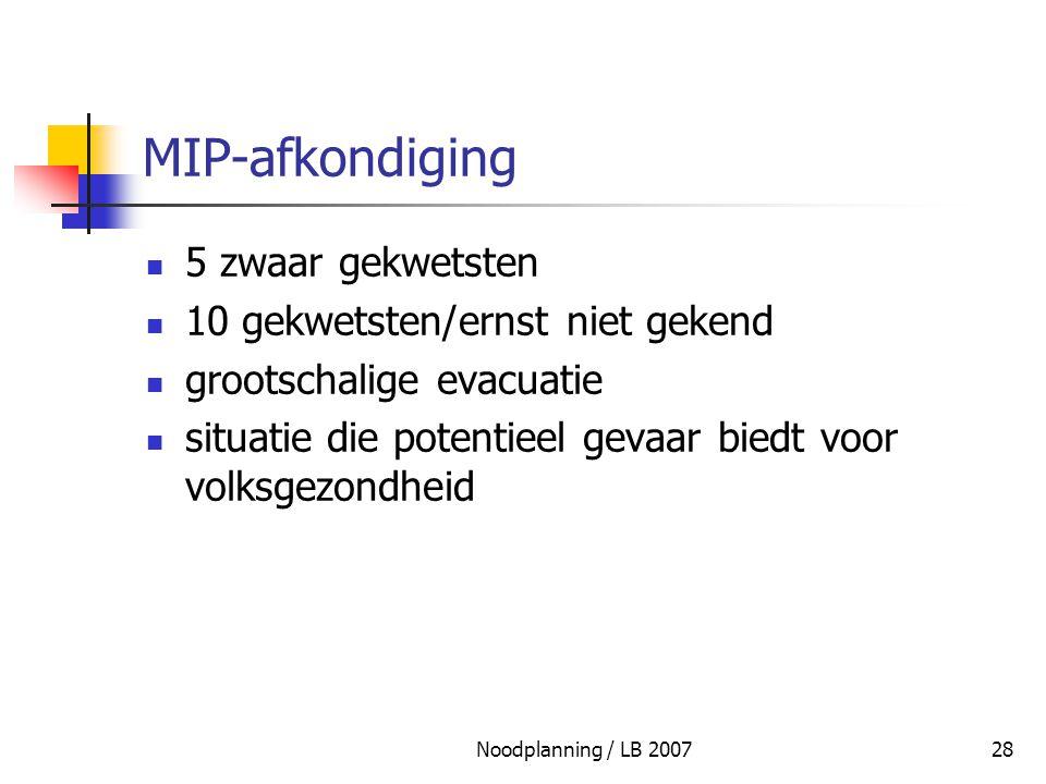 MIP-afkondiging 5 zwaar gekwetsten 10 gekwetsten/ernst niet gekend