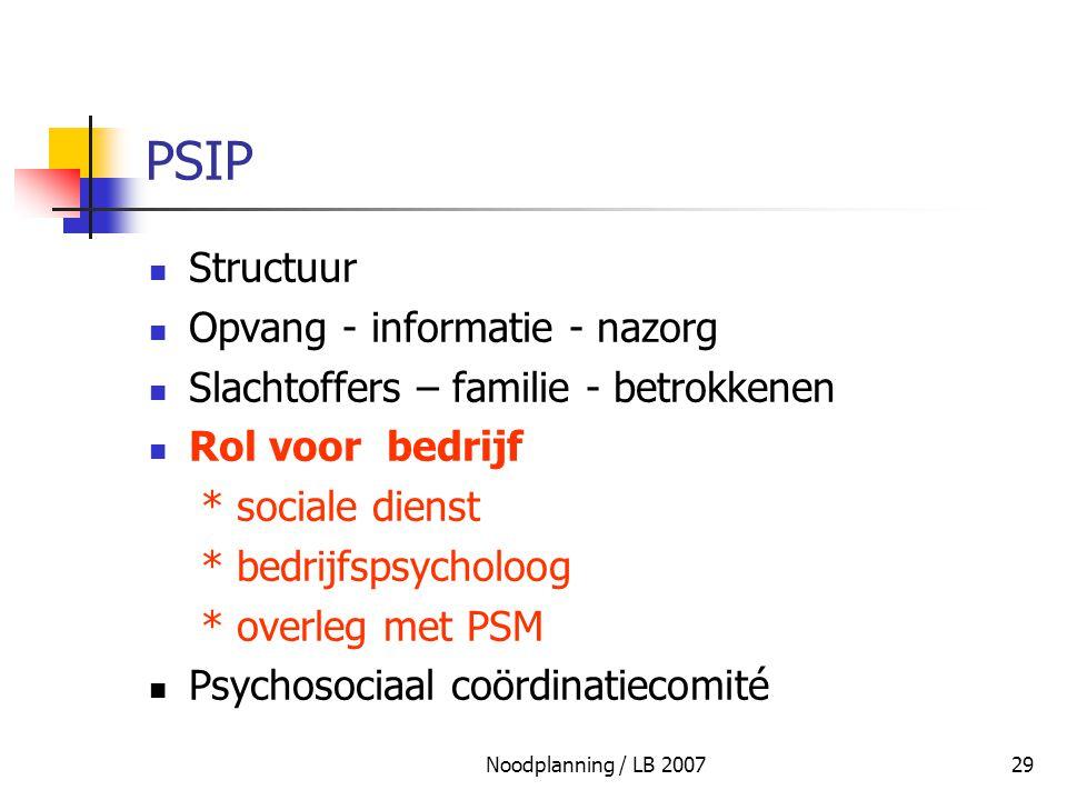 PSIP Structuur Opvang - informatie - nazorg