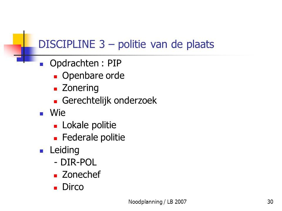 DISCIPLINE 3 – politie van de plaats