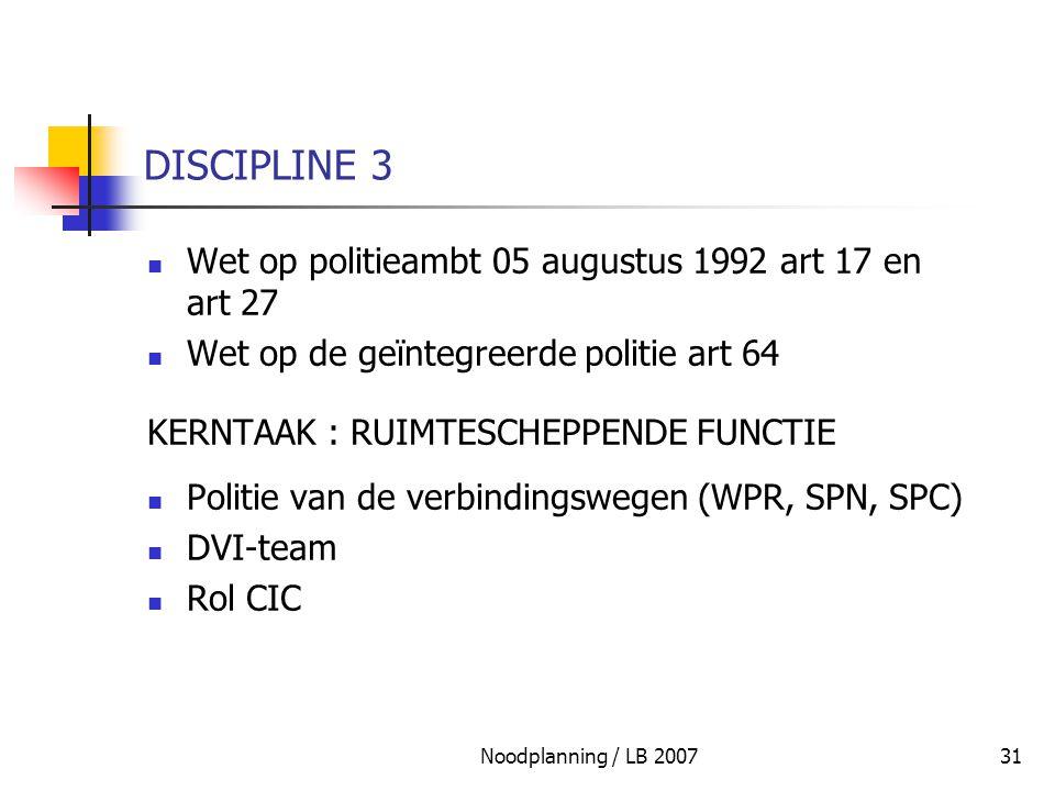 DISCIPLINE 3 Wet op politieambt 05 augustus 1992 art 17 en art 27