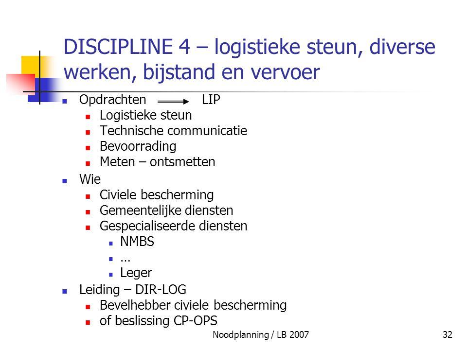 DISCIPLINE 4 – logistieke steun, diverse werken, bijstand en vervoer