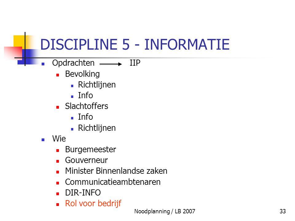 DISCIPLINE 5 - INFORMATIE