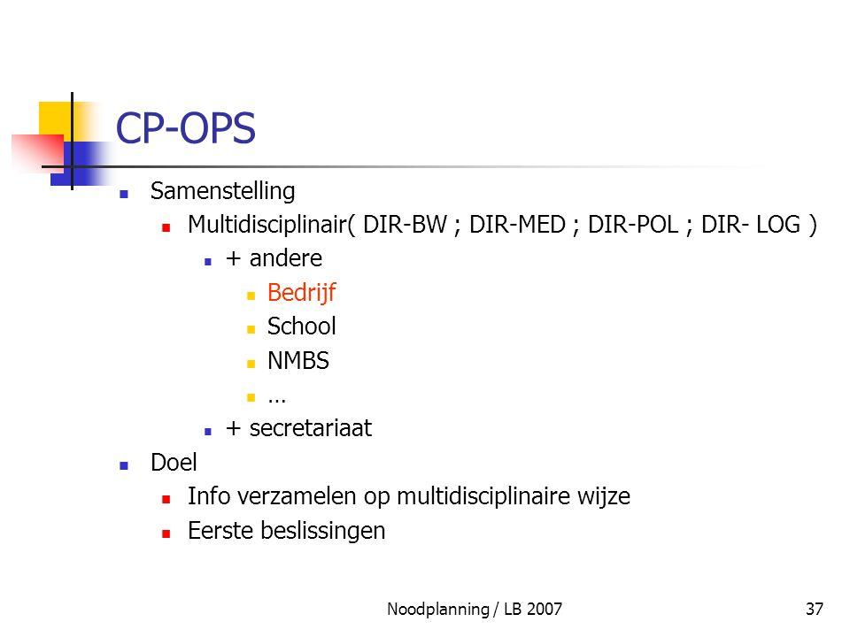 CP-OPS Samenstelling. Multidisciplinair( DIR-BW ; DIR-MED ; DIR-POL ; DIR- LOG ) + andere. Bedrijf.