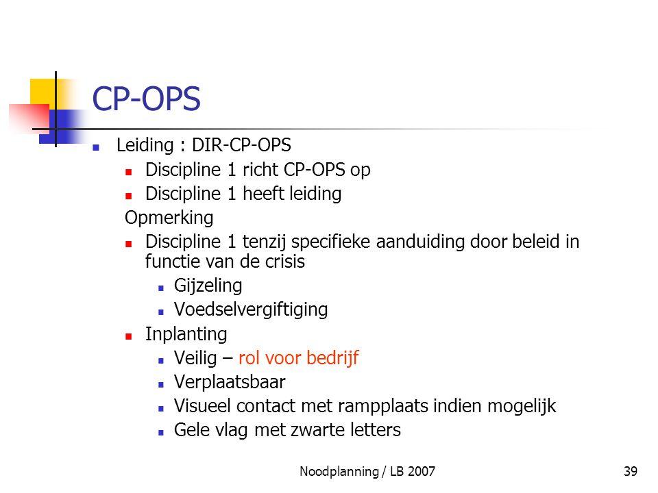 CP-OPS Leiding : DIR-CP-OPS Discipline 1 richt CP-OPS op