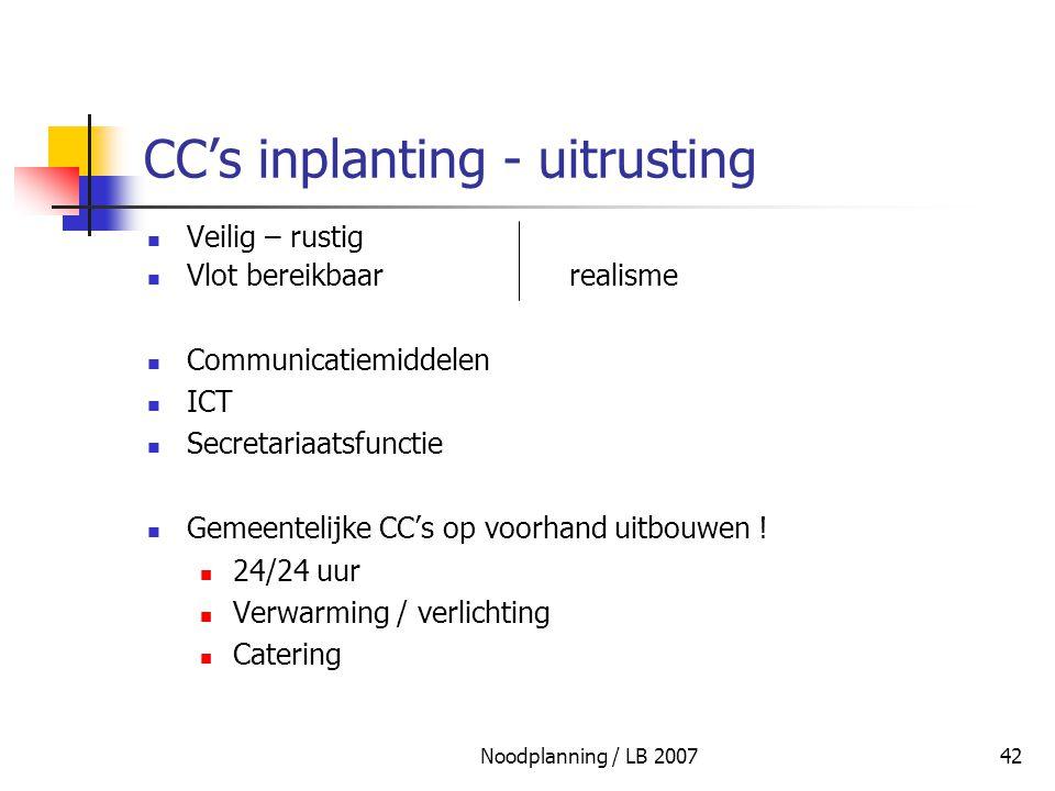 CC's inplanting - uitrusting