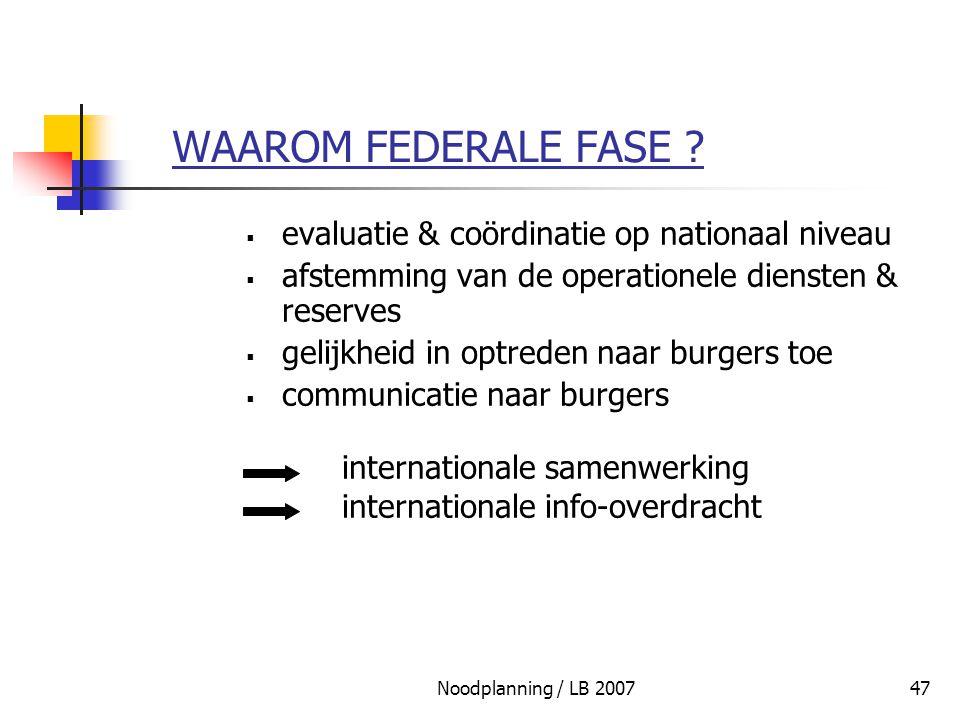 WAAROM FEDERALE FASE evaluatie & coördinatie op nationaal niveau