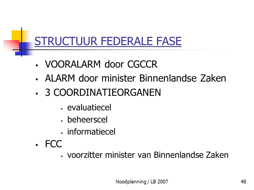 STRUCTUUR FEDERALE FASE