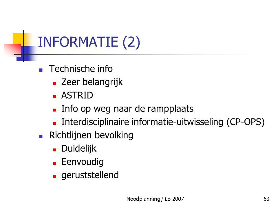INFORMATIE (2) Technische info Zeer belangrijk ASTRID