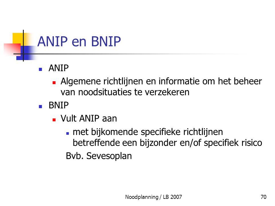 ANIP en BNIP ANIP. Algemene richtlijnen en informatie om het beheer van noodsituaties te verzekeren.