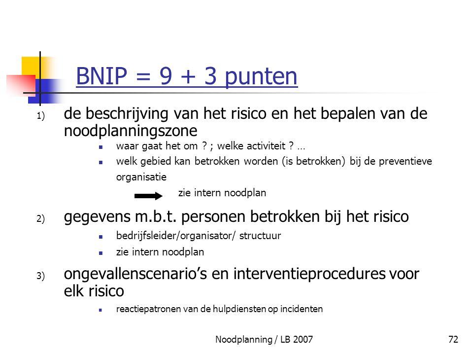 BNIP = 9 + 3 punten de beschrijving van het risico en het bepalen van de noodplanningszone. waar gaat het om ; welke activiteit …