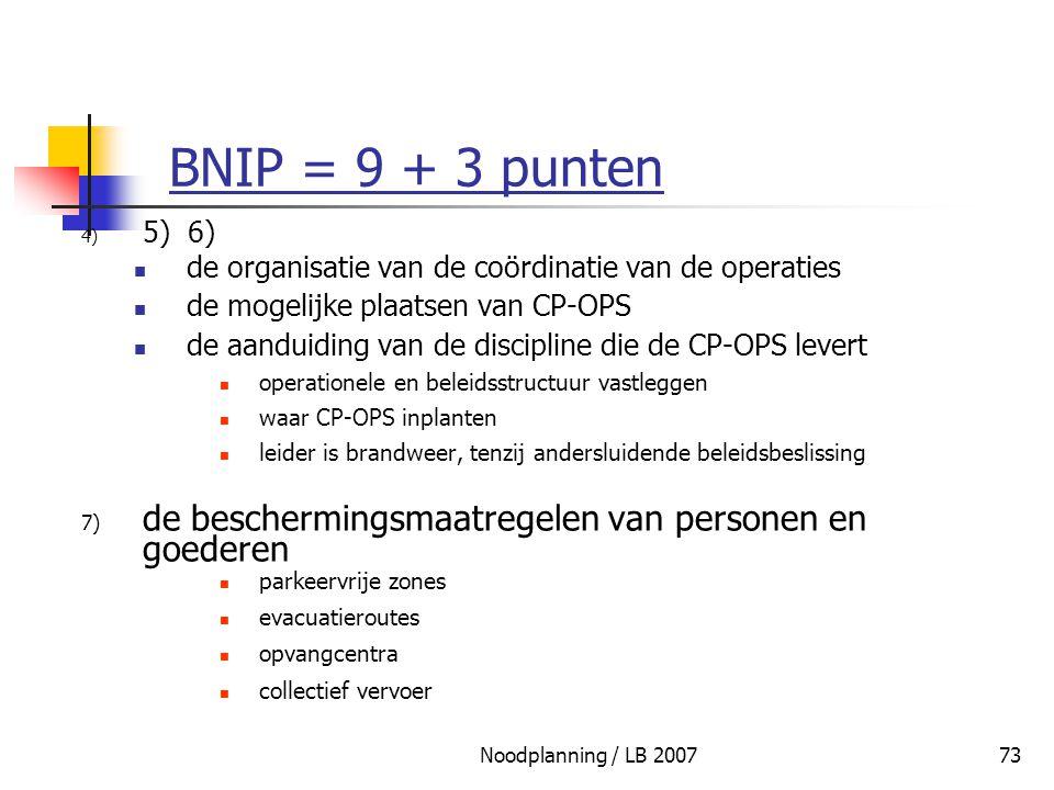 BNIP = 9 + 3 punten 5) 6) de organisatie van de coördinatie van de operaties. de mogelijke plaatsen van CP-OPS.