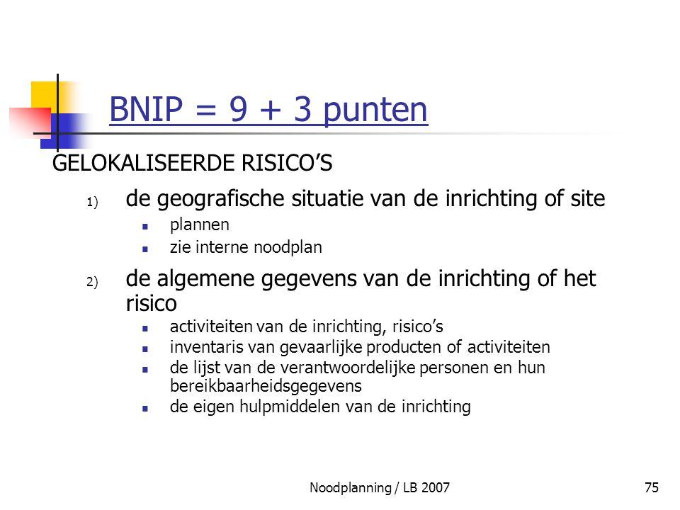 BNIP = 9 + 3 punten GELOKALISEERDE RISICO'S