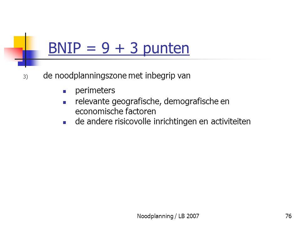 BNIP = 9 + 3 punten de noodplanningszone met inbegrip van perimeters