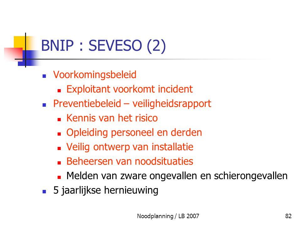 BNIP : SEVESO (2) Voorkomingsbeleid Exploitant voorkomt incident