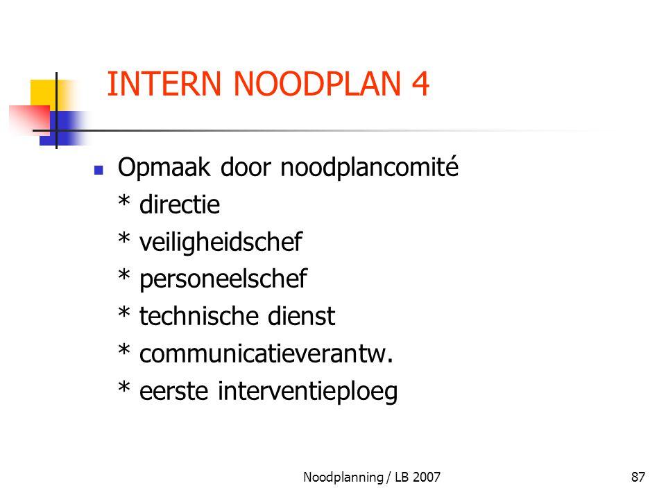 INTERN NOODPLAN 4 Opmaak door noodplancomité * directie