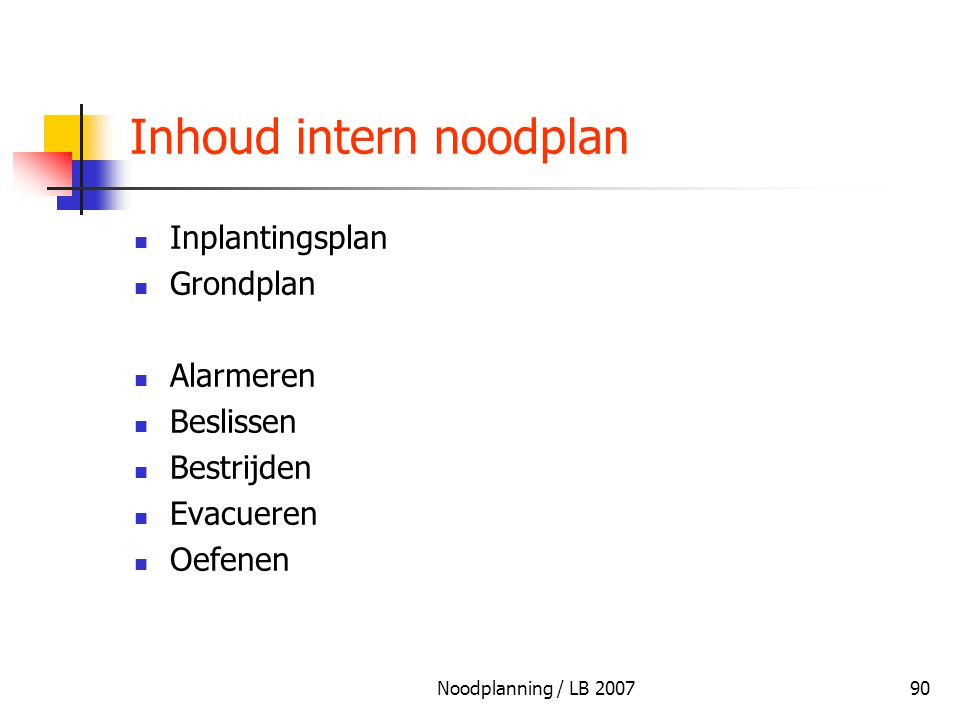 Inhoud intern noodplan