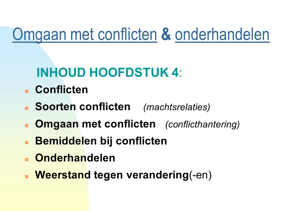Omgaan met conflicten & onderhandelen
